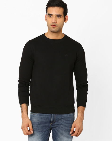 Regular Fit Sweatshirt With Ribbed Hems By PROLINE ( Black )