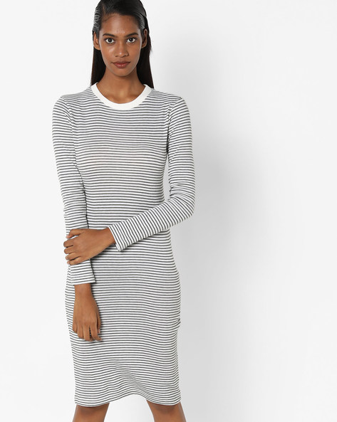 Striped Crew-Neck Sheath Dress By Sassafras ( Green )