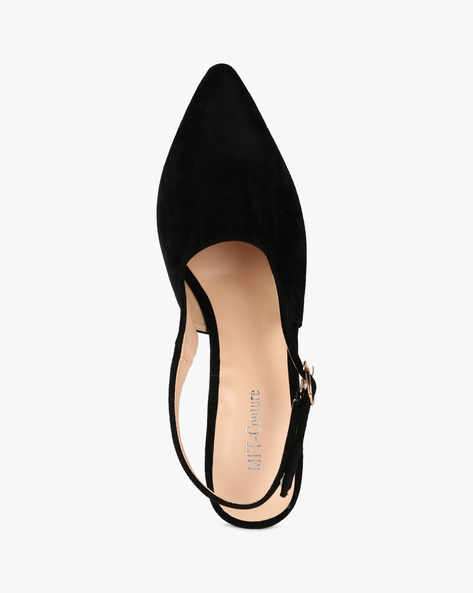 Chunky Heeled Shoes With Buckle Closure By MFT Couture ( Black )
