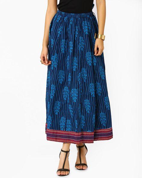 Kalidar Cambric Midi Skirt By Jiyaa ( Indigo )