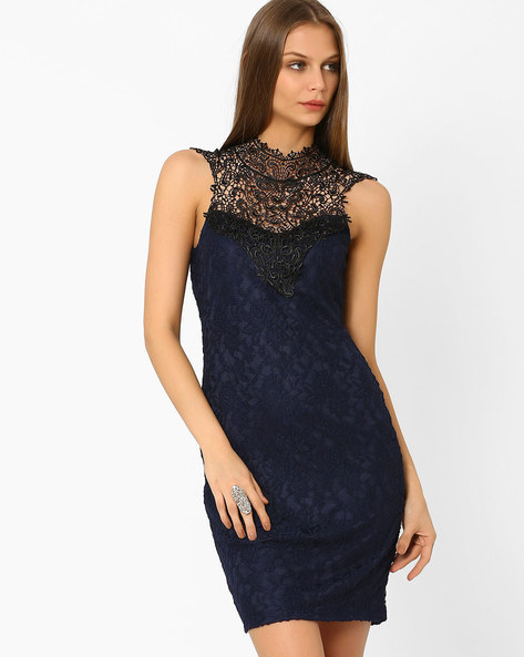 Lace Bodycon Dress By AJIO ( Navyblue )