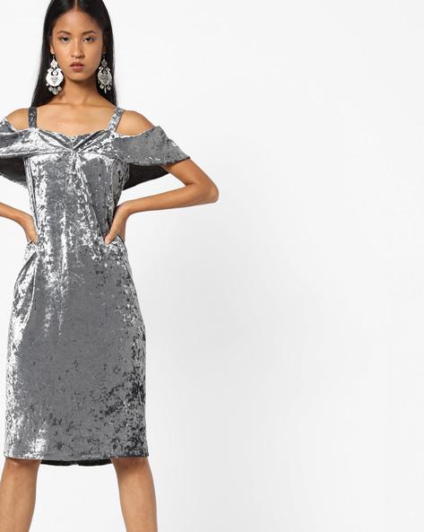 Strappy Cold-Shoulder Sheath Dress By AJIO ( Grey )