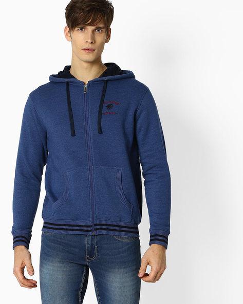 Zip-Front Hoodie With Split Kangaroo Pocket By NETPLAY ( Blue )