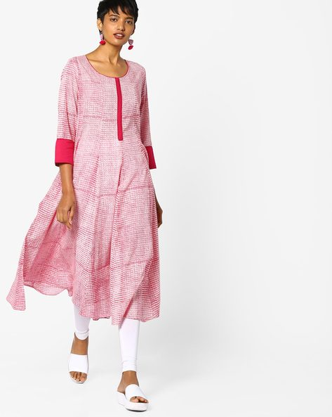 Anarkali Kurta With Contrast Sleeve Hems By Project Eve IW Casual ( Fuchsia )