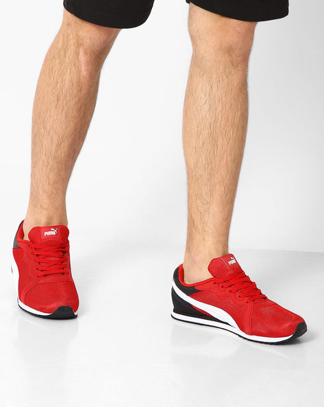 Pacer Lace-Up Sneakers By Puma ( Red )