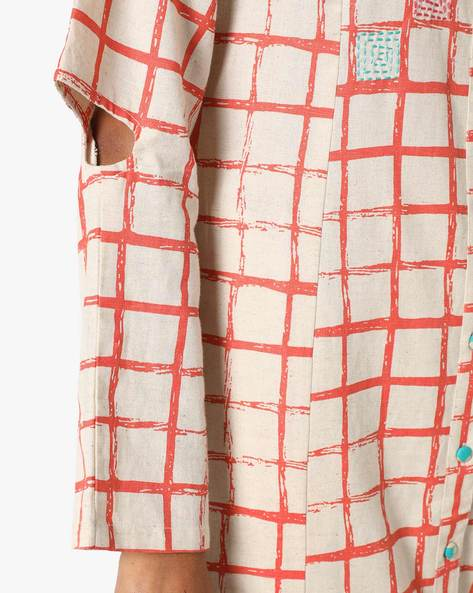 Checked Straight Kurta With Sleeve Cut-outs By AJIO ( Coral )