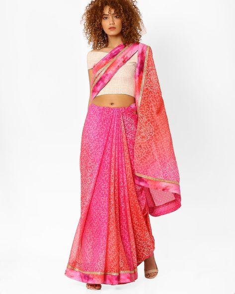 Bandhani Print Saree By Arissa ( Pink )