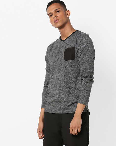 Heathered V-Neck T-shirt With Contrast Patch Pocket By VOI JEANS ( Anthracite )