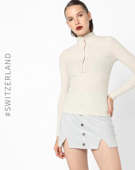 Sweatshirt With Front Zipper By TALLY WEiJL ( Beige )