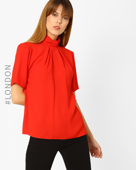 Top With Bow-Tie Neck Collar By Closet London ( Red )