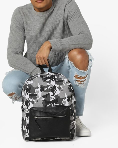 Camouflage Print Laptop Backpack By AJIO ( Black )