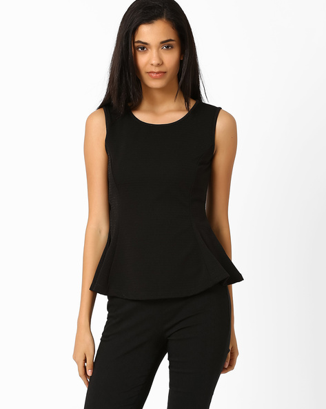 Sleeveless Peplum T-shirt By Candies By Pantaloons ( Black )