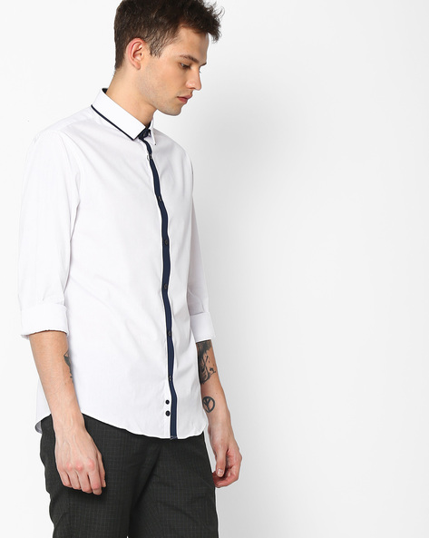 Slim Fit Shirt With Contrast Placket By Celio ( White )