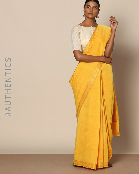 Mangalgiri Cotton Handloom Saree With Nizam Border By Indie Picks ( Yellow )