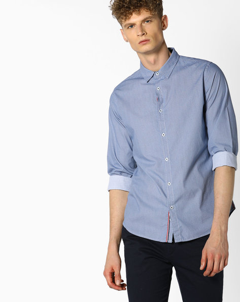 Geometric Print Cotton Shirt By UNITED COLORS OF BENETTON ( Grey )