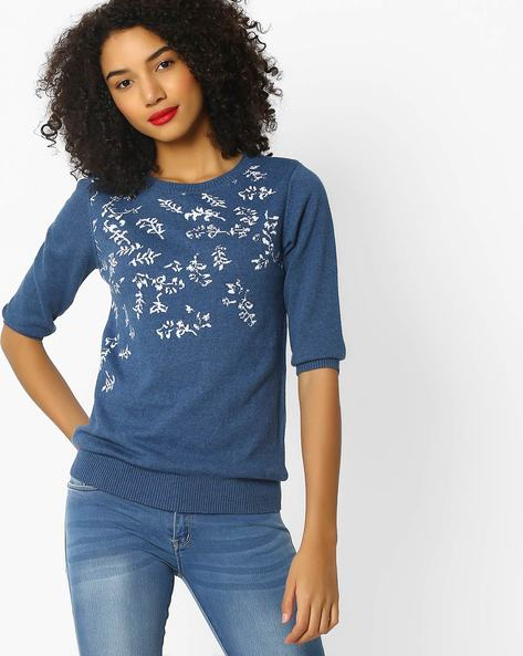 Flat Knit Top With Ribbed Hems By FIG ( Blue )