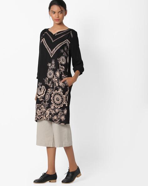 Floral Print Tunic By Global Desi ( Black )
