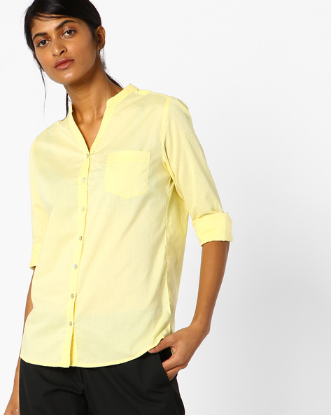 Mandarin Collar Cotton Shirt Top By Lee ( Yellow )