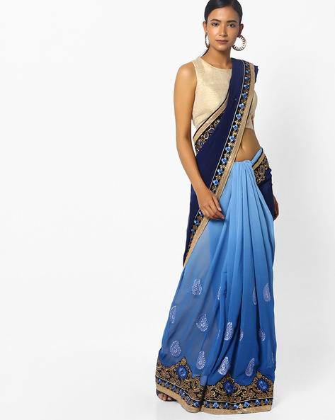Printed Saree With Floral Embroidery By Majestic Silk ( Navyblue )