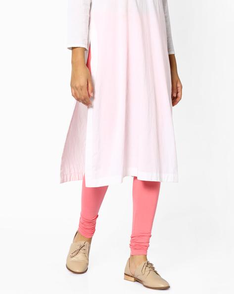 Mid-Rise Churidar Leggings By AJIO ( Pink )