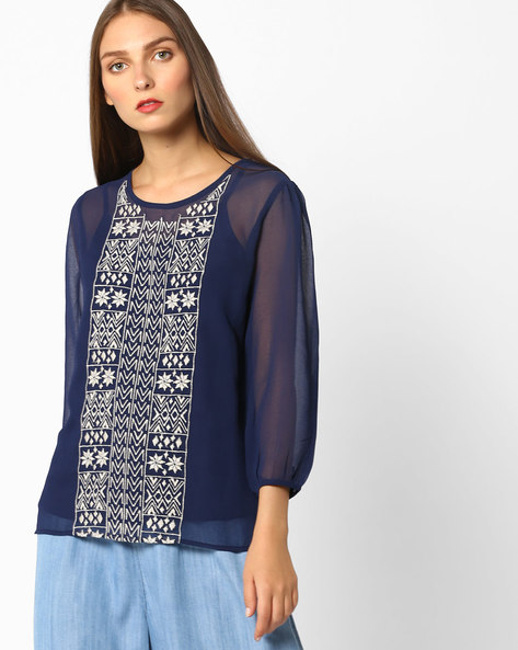 Embroidered High-Low Top By Oxolloxo ( Blue )