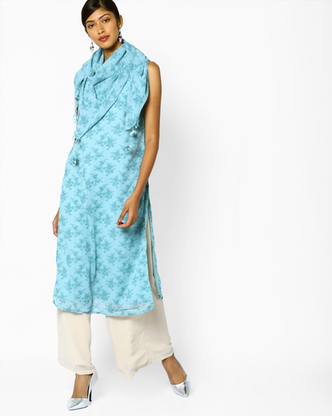 All-Over Print Sleeveless Kurta By AJIO ( Blue )