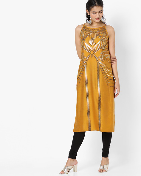 Printed Kurta With Strappy Sleeves By Global Desi ( Mustard )