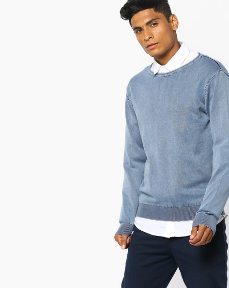 Textured Pullover With Ribbed Hems By AJIO ( Blue )