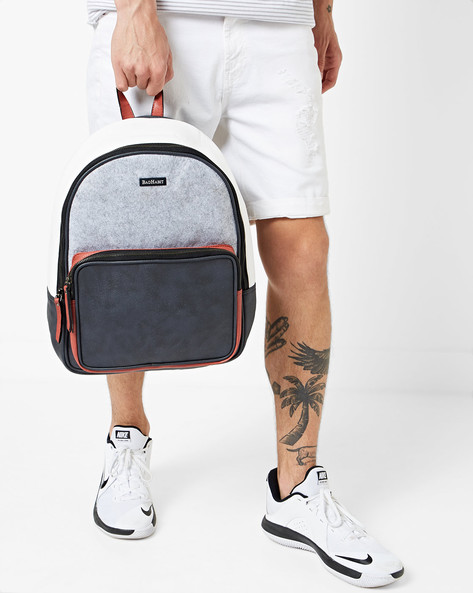 Colorblock Backpack With Adjustable Straps By BAD HABIT ( Grey )