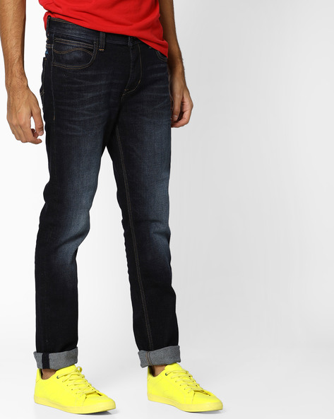 Lightly Washed Tapered Fit Jeans By Lee ( Black ) - 460101578001