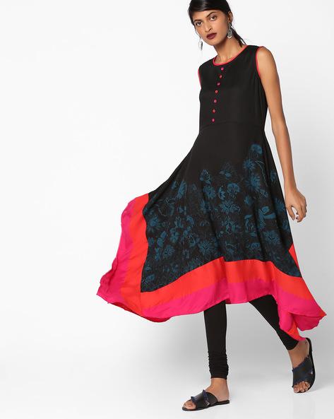 Sleeveless Floral Print Flared Kurta By AVAASA MIX N' MATCH ( Black )
