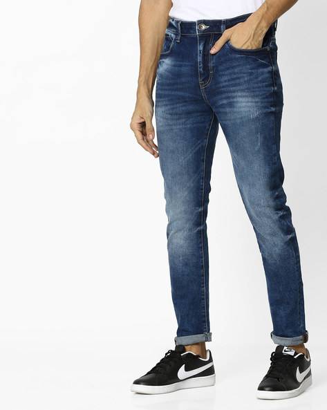 Mid-Rise Jeans With Light Distressing By UNITED COLORS OF BENETTON ( Blue )