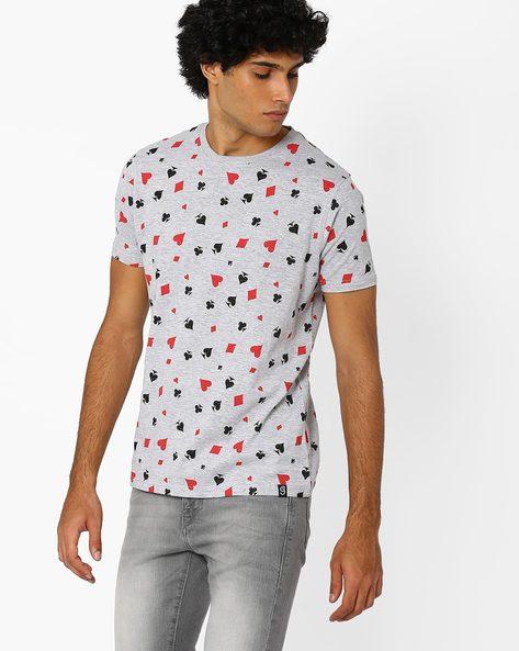 Regular Fit  Printed Crew-Neck T-shirt By Garcon ( Greymelange )