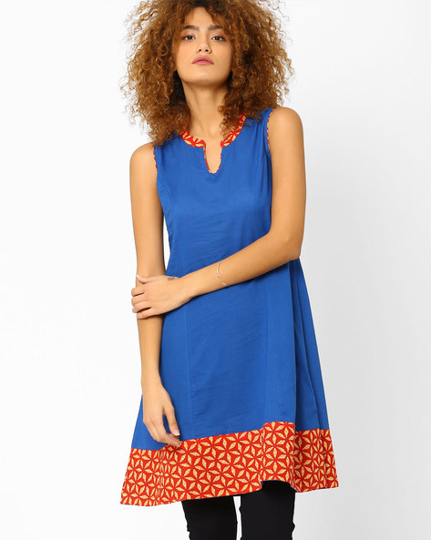 Flared Kurta With Printed Panels By AJIO ( Blue )