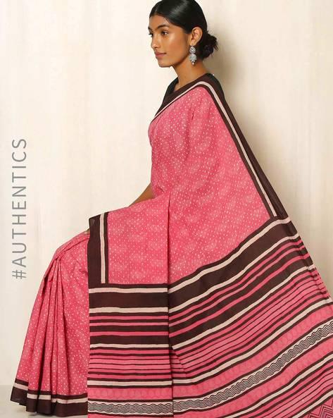 Bagru Handblock Print Cotton Saree By Indie Picks ( Pink )