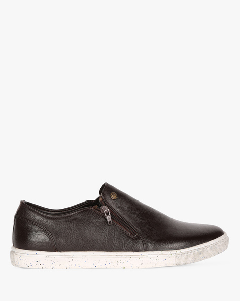 Textured Slip-On Shoes With Zipper Closure By ALBERTO TORRESI ( Brown )