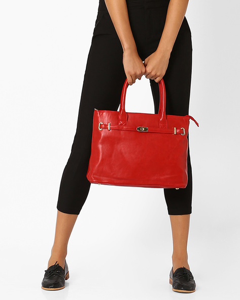 Handbag With Rolled Handles By Lino Perros ( Red )