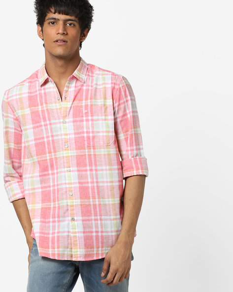 Checked Slim Fit Shirt By Lee ( Pink )