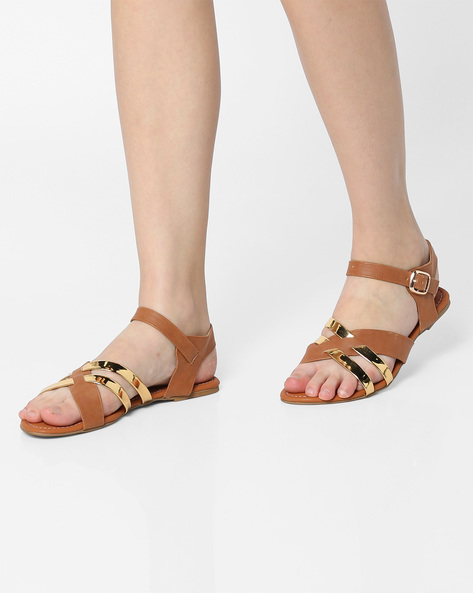Strappy Flat Sandals With Buckle Closure By Project Eve ( Tan )