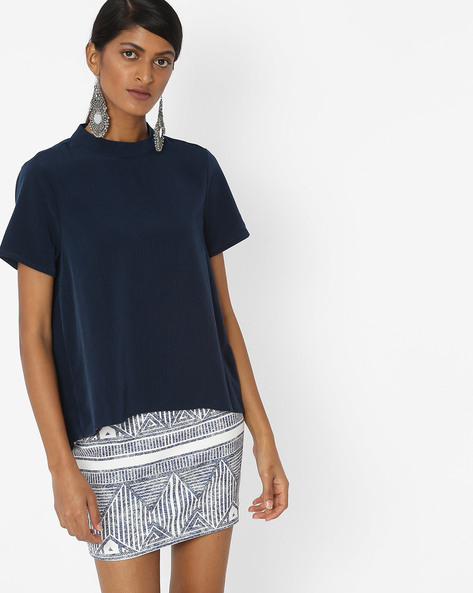 Textured Top With Back Button Placket By Vero Moda ( Blue )
