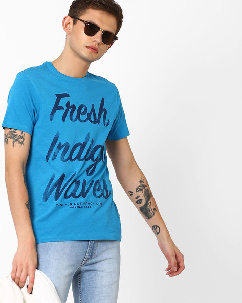 Typographic Print Slim Fit T-shirt By Lee ( Blue )