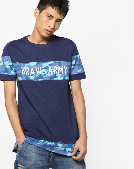 Crew-Neck T-shirt With Printed Panels By AJIO ( Blue )