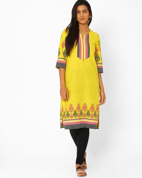 Printed Cotton Kurta By Rangriti ( Yellow )