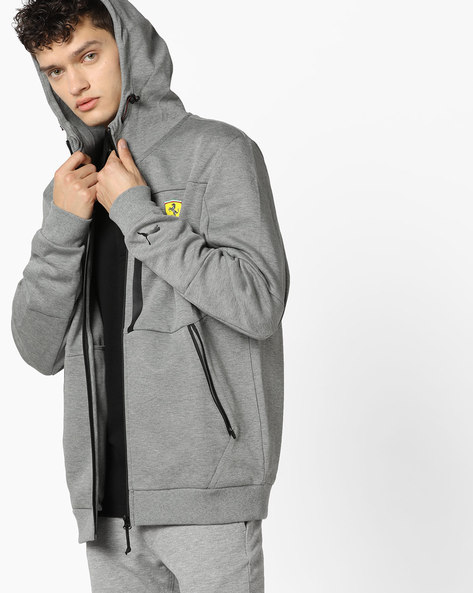 Front-Zip Hooded Jacket By Puma ( Grey )