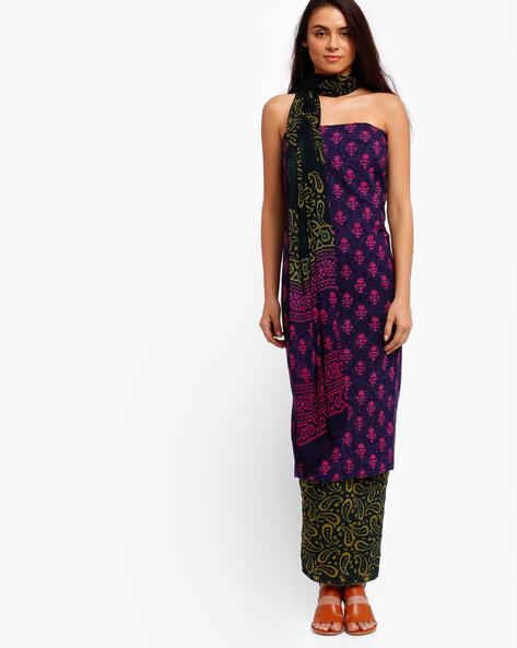 Block Print Cotton Dress Material By ChhipaPrints ( Navyblue )