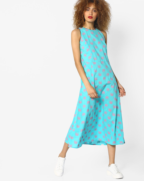 Printed Sleeveless A-line Dress By AJIO ( Turquoise )