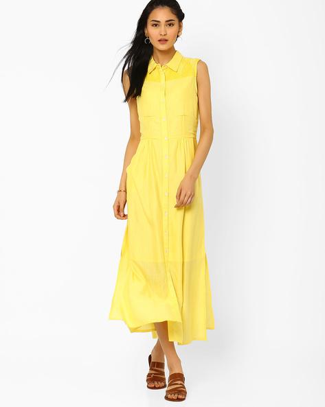 Shirt Dress With Embroidered Yoke By AJIO ( Yellow )