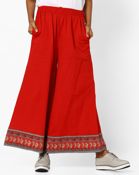 Flared Palazzos With Contrast Border By PE IW Fusion ( Red )