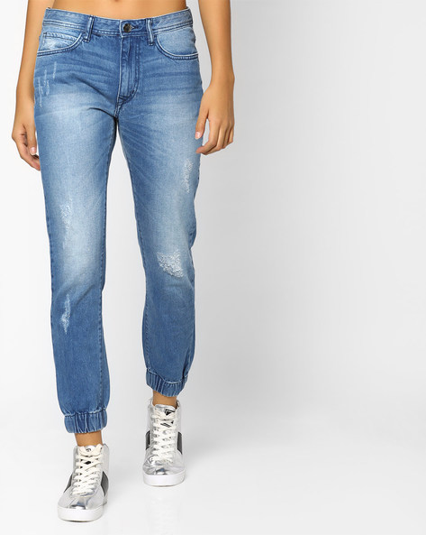 Lightly Washed Regular Fit Joggers By Lee ( Blue )