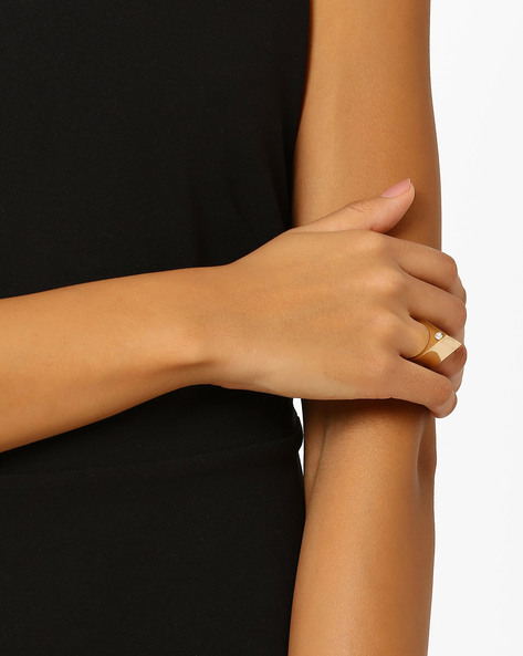 Crystal-Studded Brass Ring By AJIO ( Gold )